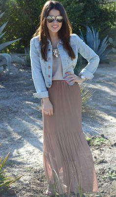 denim jacket + maxi skirt