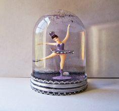 Ballerina, pretty, purple, snow globe