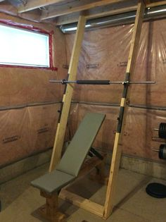 Custom squat rack Home Made Gym, Diy Home Gym, Gym Room At Home, Homemade Workout Equipment, Home Workout Equipment, Fit Board Workouts, Gym Workouts, Muscle Groups To Workout, Dream Home Gym