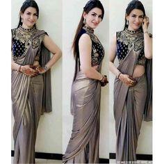 Silver grey zari georgette plain partywear saree with embroidered blouse Red Lehenga, Lehenga Choli, Anarkali, Saree Designs Party Wear, Party Wear Sarees, Salwar Kameez, Patiala, Churidar, Kurti