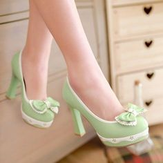 72968b60b954 Womens High Block Heel Vintage Bowknot Lolita Leather Pump Court Shoes Size