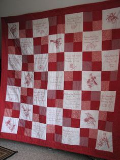 Folded Gingham: 50th Anniversary Red Work Quilt