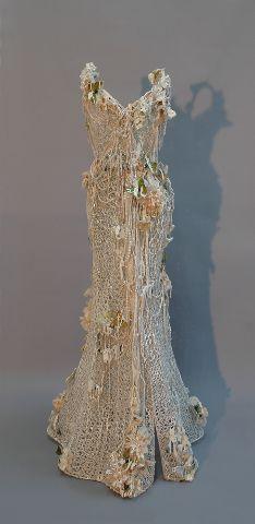 """Sophie DeFrancesca ~ """"Frozen in Time"""" (2014) Mixed media  *dress sculpture* 61 x 28 x 28 in.   via Galerie de Bellefeuille"""