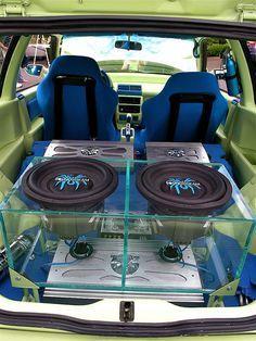 enclosure car stereo trunk install JL Audio wood floor