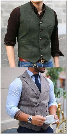 [Shop Now] Men's Fashion Single Breasted V-Neck Pure Color Tank Top - There are a lot of fashion men's vest coats, coat, pants, sweaters you can option. Mens Formal Vest, Formal Men Outfit, Men Formal, Gentleman Mode, Gentleman Style, Western Outfits, Stylish Men, Men Casual, Gilet Costume