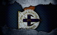 壁紙をダウンロードする スポーツFC, 4k, リーガ, サッカー, エンブレム, スポーツのロゴ, ラコルニャ, スペイン, サッカークラブ, 金属の質感, グランジ