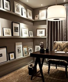 traditional home office decor with wall gallery picture ledges and traditional h. - traditional home office decor with wall gallery picture ledges and traditional home office furnitur - Home Office Space, Home Office Design, Home Office Decor, House Design, Office Art, Office Ideas, Man Office, Office Spaces, Office Style
