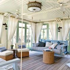 Hanging couches / love the paint color