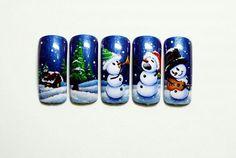WR... Nail Art Noel, Xmas Nail Art, Xmas Nails, New Year's Nails, Christmas Nail Art Designs, Winter Nail Designs, Toe Nail Art, Holiday Nails, Love Nails