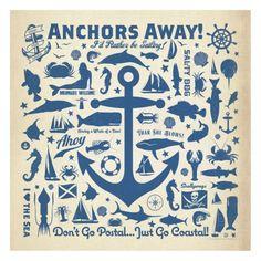Anchor Pattern Square Kunstdrucke von Anderson Design Group bei AllPosters.de