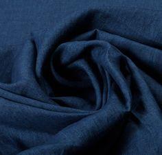 Cotton Linen Blend Blue Fabric - Fabric