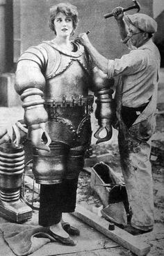 1929. Jaqueline Gadsden being prepared for a scene in 'The Mysterious Island'.