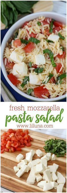Fresh Mozzarella Pasta Salad I added onions!- a light and delicious salad filled with orzo, fresh mozzarella cubes, tomatoes and basil. Definitely a new favorite and so simple! Mozzarella Pasta, Fresh Mozzarella, Caprese Pasta, Caprese Salad, Pasta Recipes, Dinner Recipes, Cooking Recipes, Orzo Salad Recipes, Cooking Tips