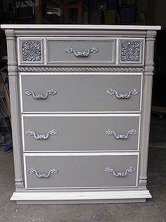 sophisticated grey painted lady dresser, chalk paint, painted furniture