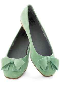 Clover Your Bases Flat by BC Shoes - Green, Solid, Bows, Flat, Suede, Work, Casual, Pastel