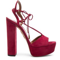 Aquazzura Suede Austin Plateau Heels (1,065 CAD) ❤ liked on Polyvore featuring shoes, pumps, heels, heels & pumps, suede platform shoes, platform shoes, high heel shoes and leather sole shoes