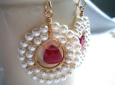 Swarovski Faceted Ruby Pink Briolettes with White by IOStudio, $79.98