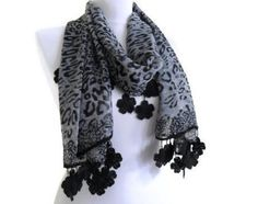 Black and Grey leopard chiffon scarfWomen by likeknitting on Etsy, $23.99