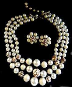 Triple Strand Cascading white pearls Necklace & Earrings -Japan signed 1950 retro set - gorgeous jewel for bride-- Art.805/2 -