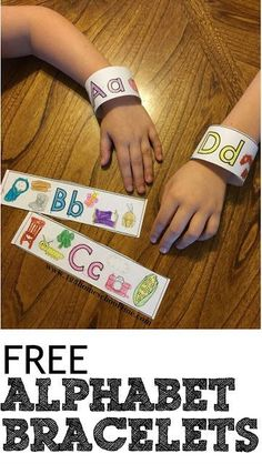 SAVED HYB FREE Alphabet bracelets are perfect to help toddler, preschool, prek, kindergarten, first grade kids practice letters and remember their letter of the week. Teaching Letters, Preschool Letters, Learning The Alphabet, Preschool Lessons, Preschool Learning, Toddler Preschool, Letter Recognition Kindergarten, Kindergarten First Week, Free Preschool