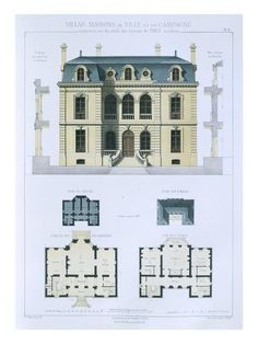 Design from 'Town and Country Houses Based on the Modern Houses of Paris', (Colour Litho)- Leblanc-Giclee Print Architecture Drawings, Architecture Portfolio, Facade Architecture, Classical Architecture, Japanese Architecture, Architecture Diagrams, Contemporary Architecture, Casas The Sims 4, Town And Country