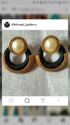 Silk Thread Earrings Designs, Silk Thread Bangles Design, Thread Jewellery, Beaded Jewellery, Handmade Jewellery, Diy Jewelry, Gold Jewelry, Diwali Craft, Paper Ornaments