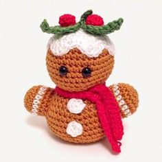 Free crochet gingerbread man pattern. Amigurumi free crochet Christmas pattern.