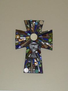 Multi media mosaic cross made for first communion. Template by Mosaic Madness.