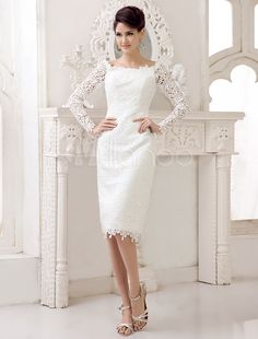 Ivory Knee Length Lace Wedding Gown