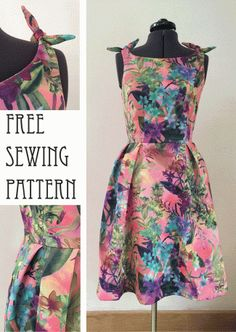 Hawaiian dress with knotted shoulders – free sewing pattern - Style Dress pattern - Free Sewing, Vintage Sewing Patterns, Clothing Patterns, Pattern Sewing, Free Pattern, Pattern Grading, Dress Pattern Free, Coat Patterns, Vintage Fabrics