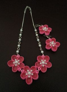 Pink Quilled Flower Set with pearls