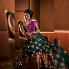 Pattu Pavadai is a traditional attire of south Indian women, especially for youngsters. pattu pavadai is also known as half saree. Half Saree Lehenga, Lehnga Dress, Bridal Lehenga, Saree Wedding, Banarasi Lehenga, Kids Lehenga, Lengha Choli, Dress Skirt, Pattu Saree Blouse Designs