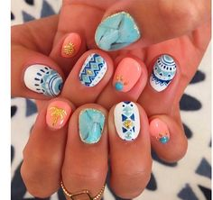 Like what you see? Follow me for more: @uhairofficial Funky Nail Art, Funky Nails, Cute Nail Art, Blue Nails, Nail Polish Designs, Nail Art Designs, Tribal Nails, Nails Only, Manicure Y Pedicure