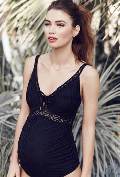 Where to find stylish maternity swimwear for summer 2016 | Lace Maternity One-Piece Swimsuit, $98; at A Pea in the Pod