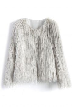 My Chic Faux Fur Coat in Silver - Retro, Indie and Unique Fashion