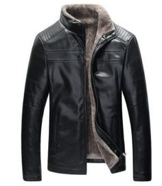 Mens Winter Leather Jacket Coat High Quality Casual Outerwear Faux Fur Fleece