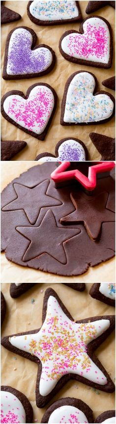 The BEST chocolate sugar cookies- soft centers, crisp edges, easy to make, fun to decorate!