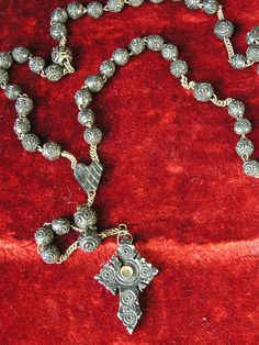 Antique Rosary Hand Carved Stanhope Cross by lesjardinsdeleanor, $85.00