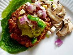 Mushroom Burgers ~ Raw Vegan Recipe serves 2 ~ $2.40 per serving  burgers  1/2 red pepper 1/4 cup ground flax seeds 10 oz mushrooms 1/3 cup walnuts 1/2 white onion, chopped 1 jalapeno pepper, chopped 1 rib celery, chopped 2 tablespoons olive oil