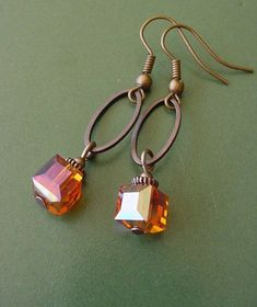 Items similar to Bonfire Style 1 // Orange Crystal Cube / Antique Copper Finish Dangle Earrings on Etsy Wire Wrapped Jewelry, Wire Jewelry, Jewelry Crafts, Beaded Jewelry, Jewelry Ideas, Jewelry Box, Initial Jewelry, Boho Jewelry, Jewelry Rings