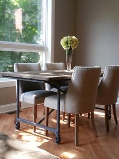 Restoration hardware flatiron table and 1940s chairs