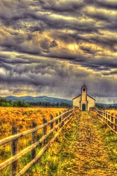 "Fabulous photo by By Barry Ferguson ~ Epi. ""McDougall Memorial United Church, Cochrane, Alberta, is a one-storey building located on the north bank of the Bow River, roughly two kilometres east of Morley. Constructed in 1875 in the Carpenter's Gothic style it features pointed arch windows and front door , shingled front-gabled roof and a central steeple crowned by a pinnacle. There are also archaeological remains of mission structures at the site (more at historicplaces.ca)"""