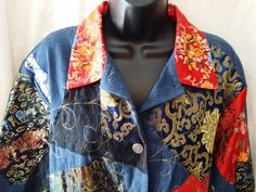 Chico's Design Embroidered Patchwork Denim Jacket  Size 3 (reg 16) multi color #Chicos #JeanJacket