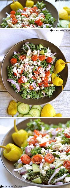 Your favorite greek salad gets a makeover using chopped kale for a nutritiously dense and delicious dish! Super easy with a quick homemade greek vinaigrette.