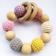 wooden teething ring Crochet beads rattle Amigurumi Baby teething toy Crochet baby rattle Eco friendly Rattle Baby Shower Gift(China (Mainland))