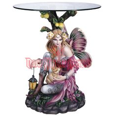 Pink Fairy with Rabbit End Table