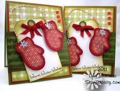 Christmas **** Recipe: Stamps: Gingham & Co , Musical Backgrounds, Half Baked Gingerbread Joy, Sewing Box Christmas (all Waltzingmouse Stamps)  Papers: White, Pure Luxury Fresh Asparagus and Rocket Red (GKD), Herbal Garden Dark (Prism), Jovial (Basic Grey)  Inks: Spanish Moss (Versafine), VersaMark (Ranger), Black Soot & Aged Paper (Distress Ink)
