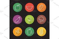 Fruit and vegetables 9 icons. Vector by icons factory on @creativemarket