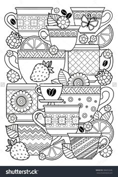 Coloring Book For Adult. Cups Of Herbal Tea And Coffee.Flowers And Fruits. Raster Copy. Imagen de archivo (stock) 386653246 : Shutterstock