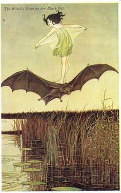 Ida Rentoul Outhwaite - Witch's Sister on her Black Bat Elves & Fairies